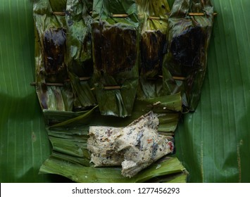 Traditional food typical of Sindang Laut Regency of Cirebon, West Java, Indonesia. Pepes knows that Pepes is made from tofu and peek tofu (tofu crust) with cayenne pepper which is cut into small piece