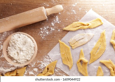 traditional french bugnes for carnival- raw dough and ingredient