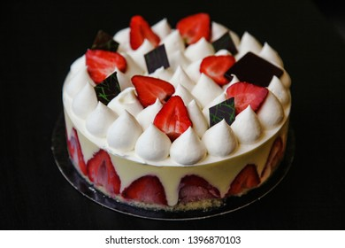 A traditional French cake with strawberries and vanilla cream