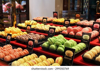 Traditional french colorful macarons in a cafe