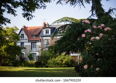 Traditional french normand and picard houses in green summer