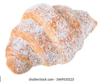 Traditional french pastry Croissants in powdered sugar isolated on white background.