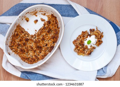 Traditional French pear crumble