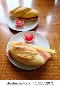 Traditional French sandwich Ham Emmental