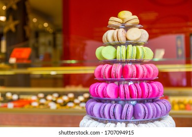traditional french sweet, colorful macarons