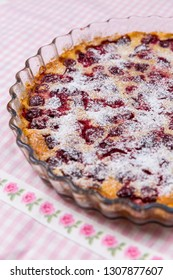 Traditional Frensch milk pie with cherry