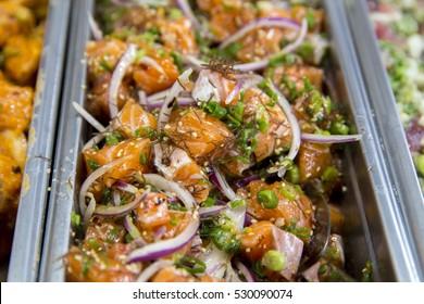 Traditional Fresh Hawaiian Raw Salmon Poke with Purple Onions