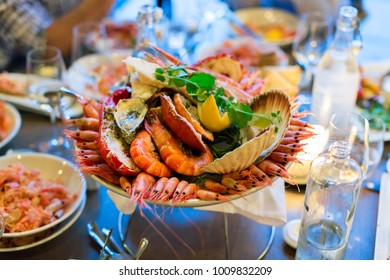 Traditional Fresh Seafood Plate at the Restaurant ,Oslo-Norway,Shrimp,Oyster,,Crab and Scallop