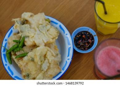 Traditional fried food called gorengan tempe