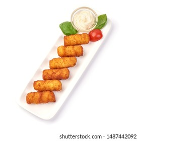 Traditional fried Spanish croquettes, isolated on white background.