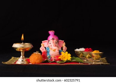 Traditional Ganpati puja in India during Ganesh festival