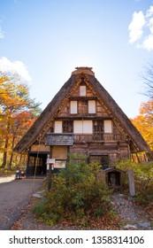 Traditional gassho-zukuri house in autumn season at Shirakawa-go,Japan
