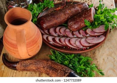 Traditional Geargian oriental food,horse meat sousage Georgian and Caucasian cuisine.