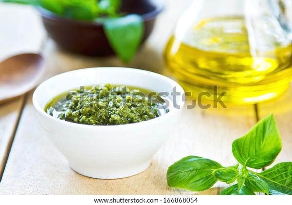 Traditional Genovese pesto made of Basil ,Pine nuts and Parmesan cheese