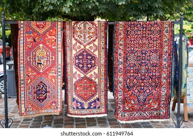 Traditional Georgian carpets in the street market at Old city. Tbilisi, Georgia