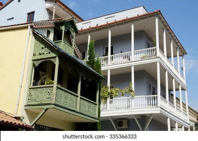 Traditional georgian houses with open balconies in Abanotubani historical part of Tbilisi ,Georgia, unesco heritage