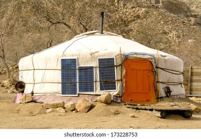 traditional ger / Yurt in mongolia has Solar energy panels attached to the ger to provide energy for the family inside. A perfect way for nomads to have energy in the desert or steppe.