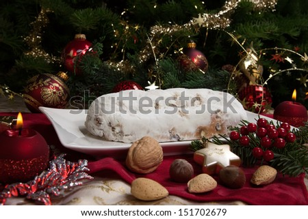 Traditional German Christmas Cake Cranberry Stollen Stock Photo