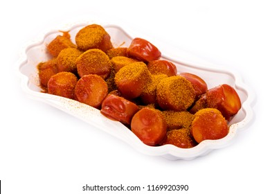 Traditional German currywurst isolated