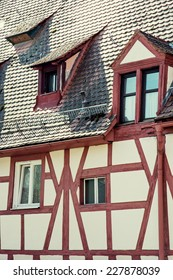 Traditional german house in Schwabach city, Bavaria, Germany.