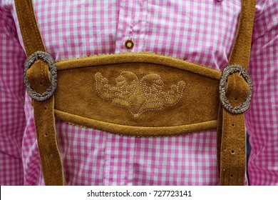 Traditional German Lederhosen Center Chestpiece Closeup Leather Plaid Dress Pink White