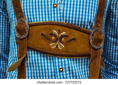 Traditional German Lederhosen Center Chestpiece Closeup Leather Plaid Dress Blue White