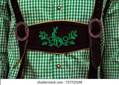Traditional German Lederhosen Center Chestpiece Closeup Leather Plaid Dress Green White