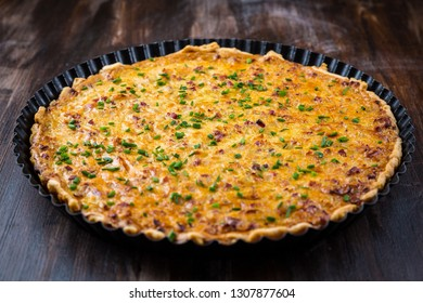 Traditional German onion pie with ham. Zwiebelkuchen