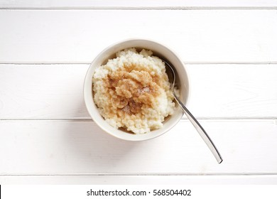 traditional german rice pudding with cinnamon and sugar, known as Milchreis in Germany