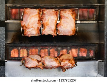 Traditional german spit roast pork meat