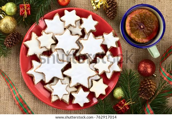 Traditional German Zimtsterne Cinnamon Stars Christmas Stock Photo