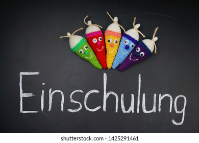 Traditional gift to first-graders kids before School in Germany, colorfull school cones, translation: school start