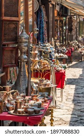 Traditional gift shops in historical center of Sarajevo, Bascarsija. Shopping bosnian souvenirs in Sarajevo old town
