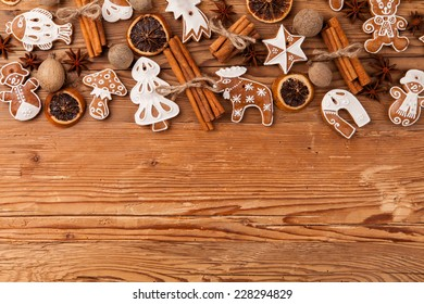 Traditional gingerbread on wooden background