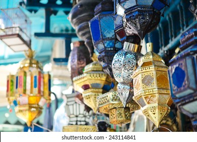 Traditional glass and metal lamps in shop in the medina of Tunis,Tunisia