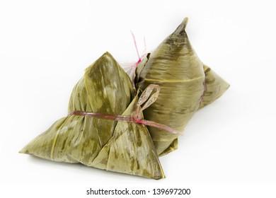 traditional glutonius rice dumpling wrap in leaves