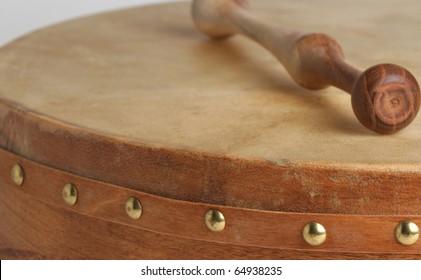 Traditional goatskin irish drum - the bodhran.