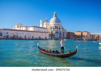 traditional Gondolas on Grand Canal in Venice, Italy