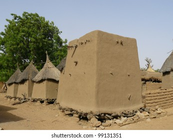 Traditional granaries in the West African nation of Mali. Large structure is male granary and smaller structures are female granaries.