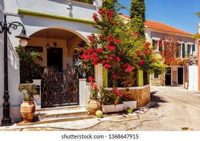 Traditional Greece architecture with Colourful buildings at Fiscardo village on the Ionian island of Kefalonia, Greece.