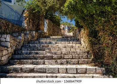 Traditional Greece architecture Traditional old street in Fiscardo village Beautiful Nature cityscape on the Ionian island of Kefalonia, Greece.