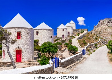 traditional Greece windmills -  leros island, Dodecanese