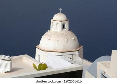 Traditional Greek Church in Thira, Santorini island, Cyclades, Greece