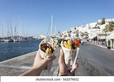 Traditional Greek Cuisine, Greek vacation, Delicious food, Greek gyros
