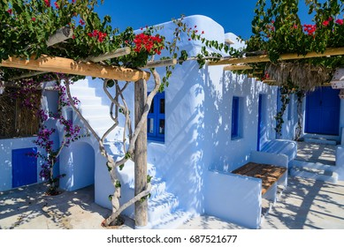 traditional greek cycladic style whitewashed house