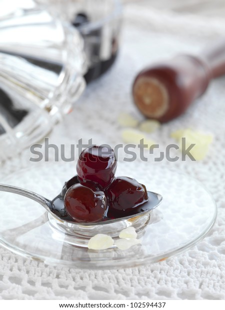 a traditional Greek dessert, boiled sour cherries and Chios mastic with water and sugar