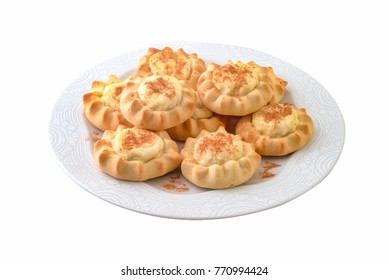 "Traditional Greek Easter  tarts filled with cheese called ""kaltsounia"" . Clipping path."