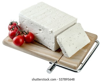 Traditional greek feta cheese,Clipping path.