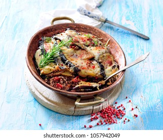 Traditional greek moussaka casserole with eggplant and ground  lamb or beef.