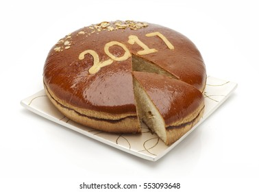 traditional Greek new year cake(2017) with lucky coin